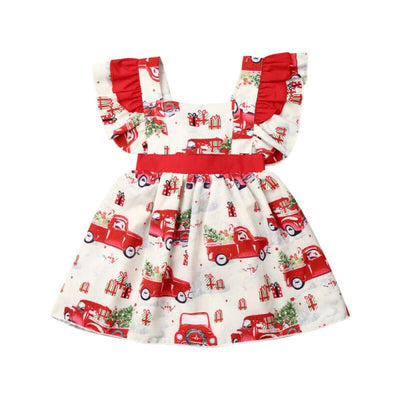 Christmas Truck Red Bow Dress