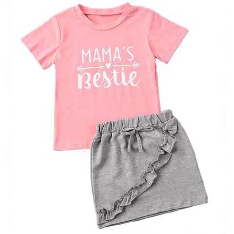 Mama's Bestie T Shirts+Denim Skirts Set freeshipping - Tots Little Closet