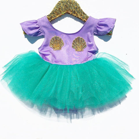Ariel Inspired Mermaid Girls Dress freeshipping - Tots Little Closet
