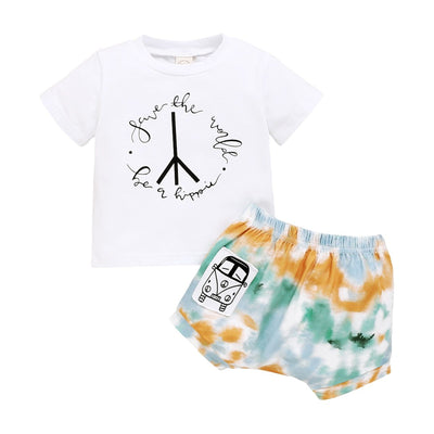 Boys Tie dye Hippie Shirt & Shorts Set