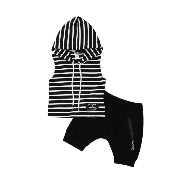 Sleeveless Striped Hoodie 2pcs Set