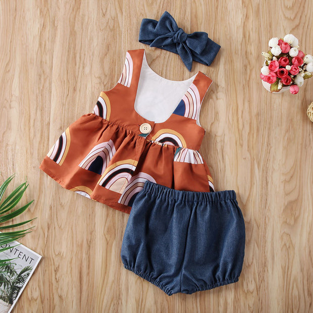 Rainbow Sleeveless Smock Top & Pants Set With Headband