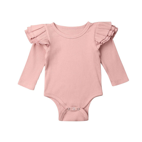 Girl Winter Solid Ruffle Bodysuit Romper Pink freeshipping - Tots Little Closet