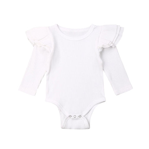 Girl Winter Solid Ruffle Bodysuit Romper White freeshipping - Tots Little Closet