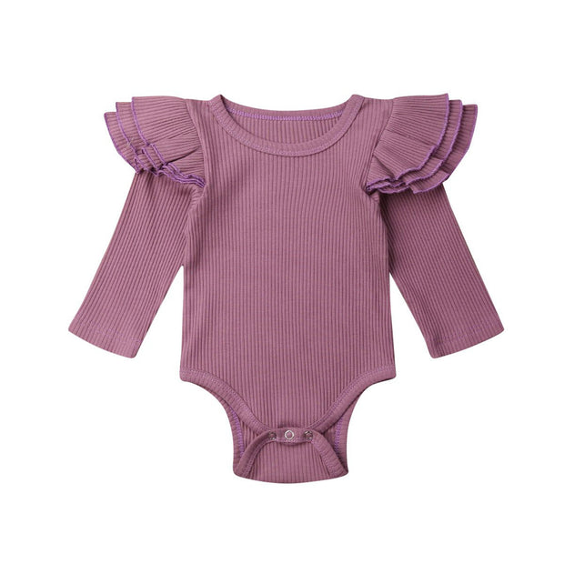 Girl Winter Solid Ruffle Bodysuit Romper Grape - Tots Little Closet