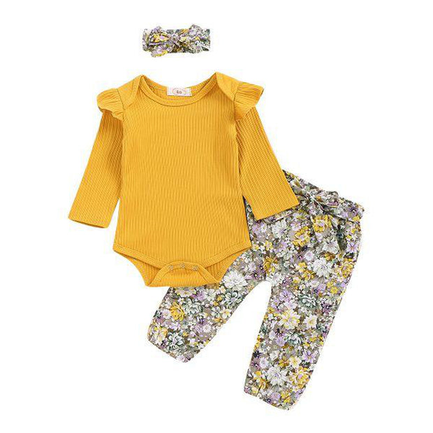 Sunflower Yellow Baby Romper With Floral Harem Pants & Headband