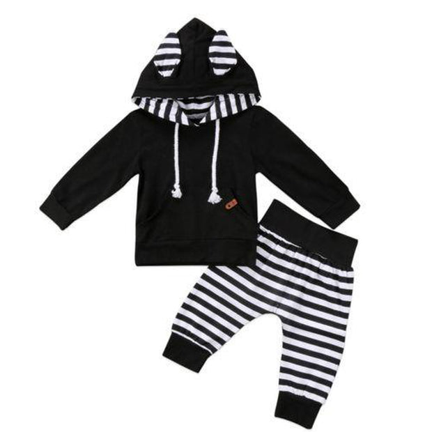 Boys Black & White Striped Hooded Tracksuit