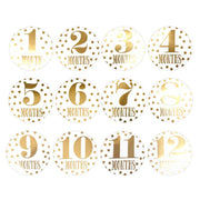 Gold Foil Baby Monthly Milestone 1-12 Stickers - Tots Little Closet