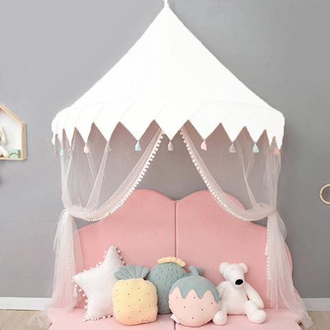 Castle Canopy Kids Play Tent White - Tots Little Closet