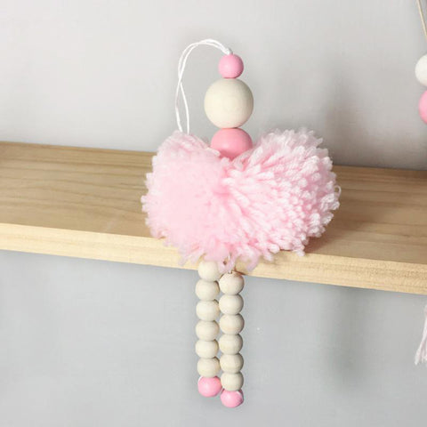 Nordic Style Ballet Dancer Hanging Decoration Wooden Beads  pink - Tots Little Closet