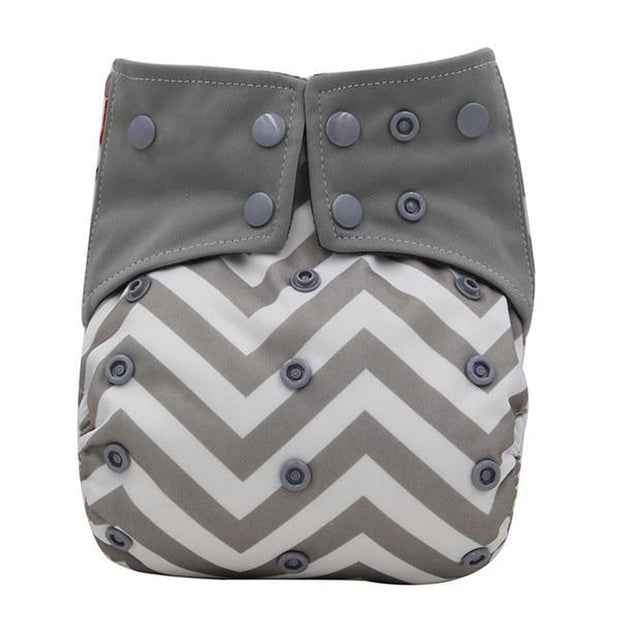 Reusable Baby Cloth Diaper Nappy Grey White Chevron