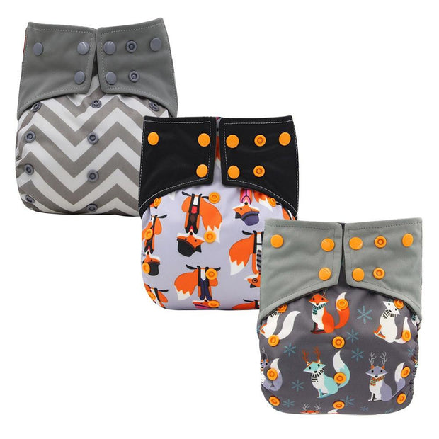 Reusable Baby Cloth Diaper Nappy 3 Pack D