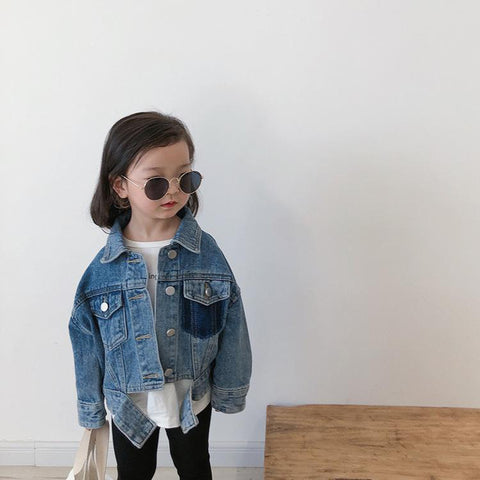 Denim Jacket W/ Pocket - Tots Little Closet