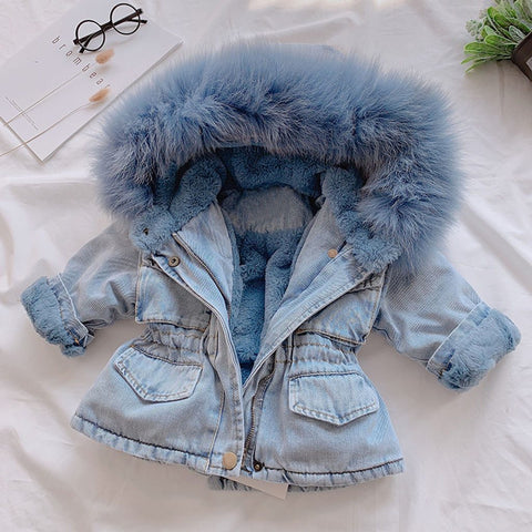 Denim Fur Jacket 2-6 yrs Blue freeshipping - Tots Little Closet