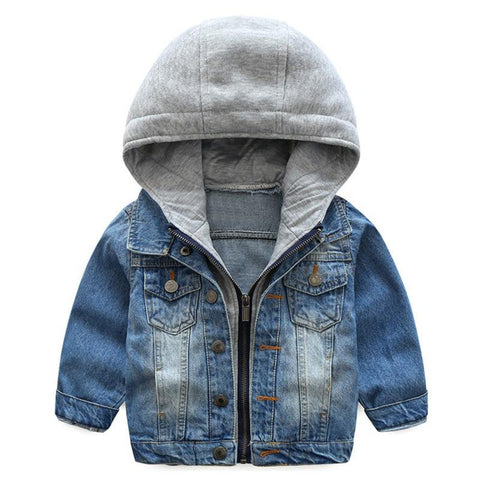 Levi Grey Hooded Demin Jacket - Tots Little Closet