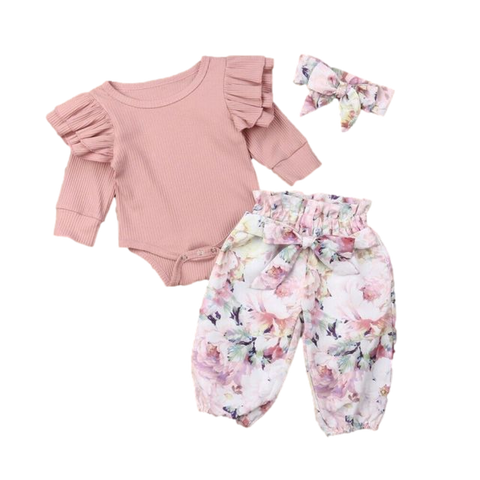 Flutter Hippie Clothing Set Pink Floral freeshipping - Tots Little Closet
