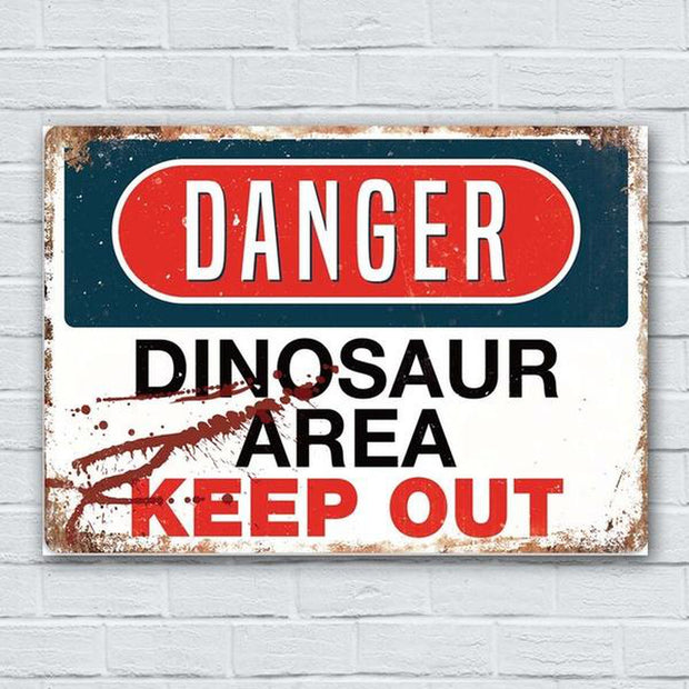 DANGER Dinosaur Area Metal Wall Sign Plaque Art - Tots Little Closet