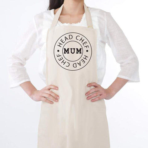 Head Chef Mum canvas look cooking apron funny humor mother's day gift - Tots Little Closet