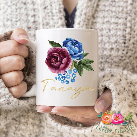 Personalized Name Wine Berry Plum Burgundy Blue Flower Cute Mugs - Tots Little Closet