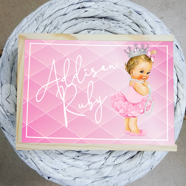 Pretty Princess With Pearls Personalized Name Wooden Keepsake Box - Tots Little Closet