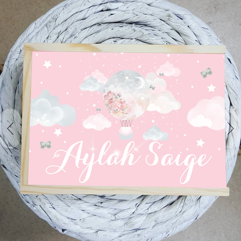 Baby Pink Hot Air Balloon Personalized Name Wooden Keepsake Box freeshipping - Tots Little Closet