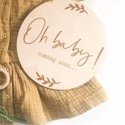 oh baby coming soon pregnancy announcement wooden plaque pregnancy milestone cards gift - Tots Little Closet