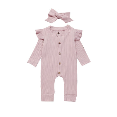Shoulder Frill Onesie 2pcs Set - Tots Little Closet