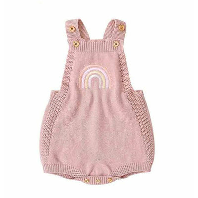 Retro Vintage Rainbow 100% Cotton Knitted Romper Pink - Tots Little Closet