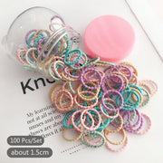 Girls Soft Elastic Hair Band Tubs. 100pcs