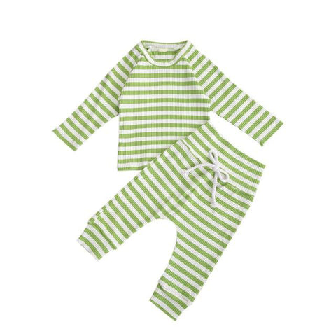 Basic Ribbed Tracksuit Green - Tots Little Closet