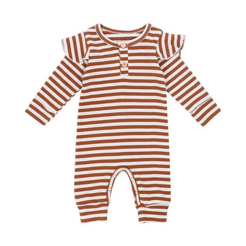 Newborn Ribbed Stripe Romper Brown - Tots Little Closet