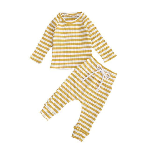 Basic Ribbed Tracksuit Yellow - Tots Little Closet