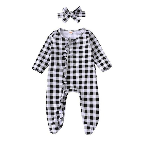 Frilled Gingham Newborn Baby Set