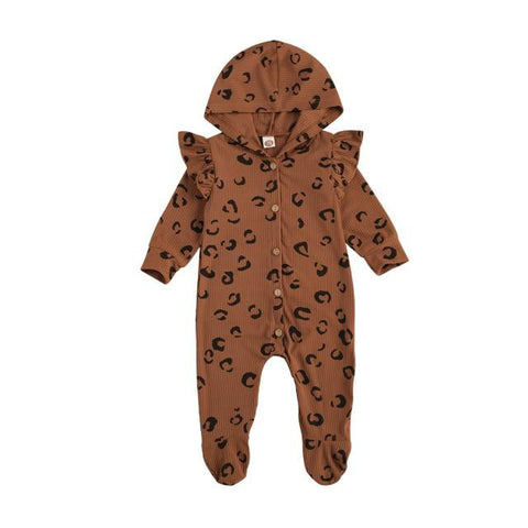 Baby Hooded Leopard Print Onesie freeshipping - Tots Little Closet