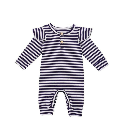 Newborn Ribbed Stripe Romper Navy - Tots Little Closet