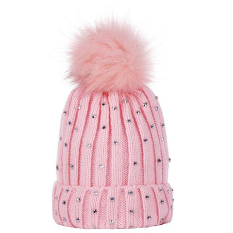 Bedazzled Diamond Pom Pom Bobble Beanie freeshipping - Tots Little Closet