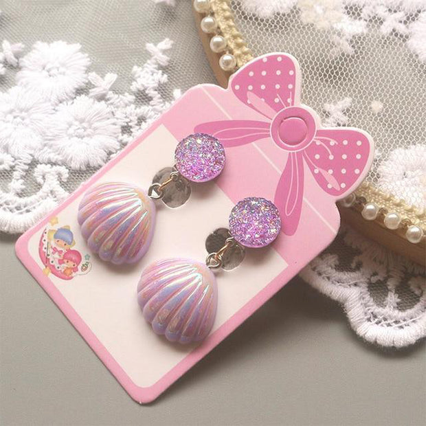 Shell Mermaid Scales Design No Piercing Clip on Earrings