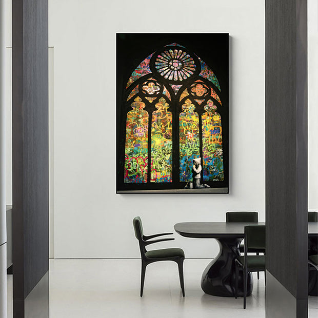 Banksy Stained Glass Window Graffiti