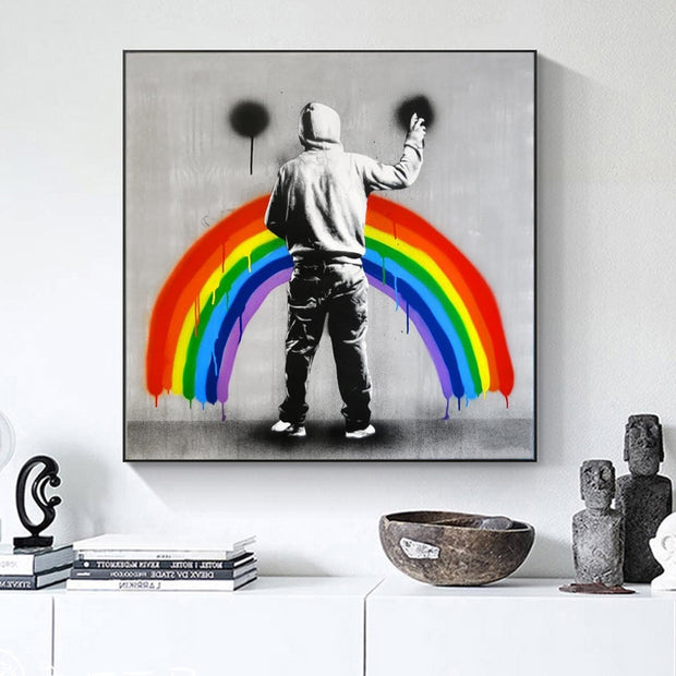 Rainbow Drip Graffiti canvas