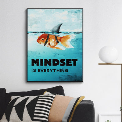 Mindset Is Everything Motivational Shark Fish Canvas