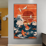 Japanese Red Crane Art