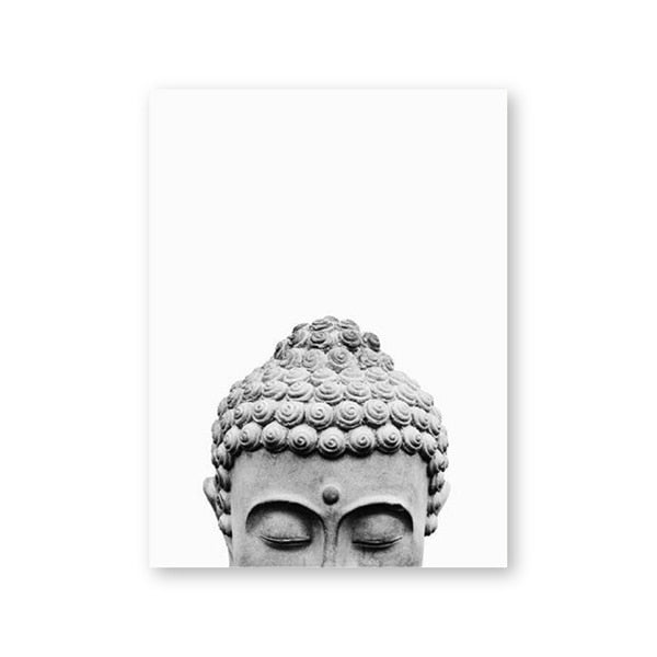 Buddha Wall Art Print Black White