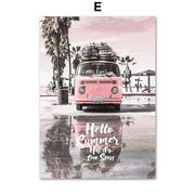 Pink Sunset Beach Coconut Tree Surfboard Wall Art