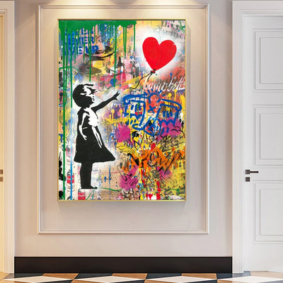 Girl with ballon street print