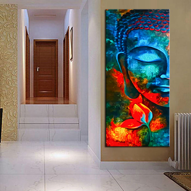 Rainbow buddha canvas print