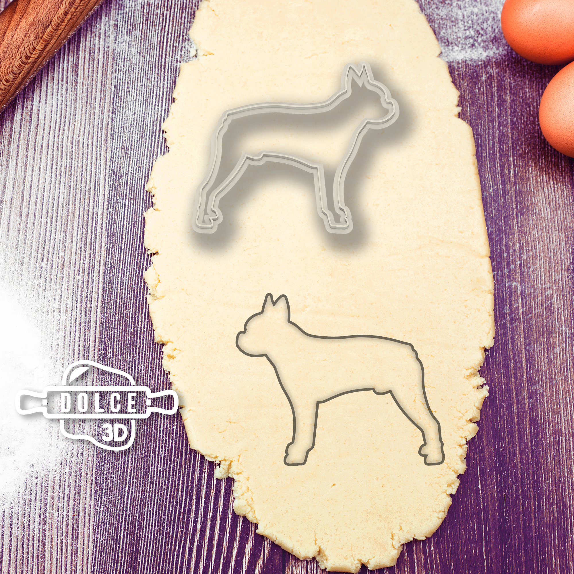 Boston Terrier Cookie Cutter - Dolce3D Italia