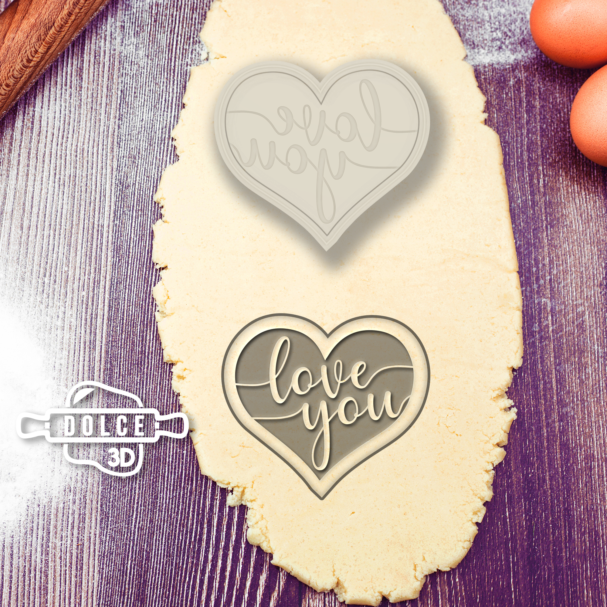 Heart Love You Outside stamp Cookie Cutter