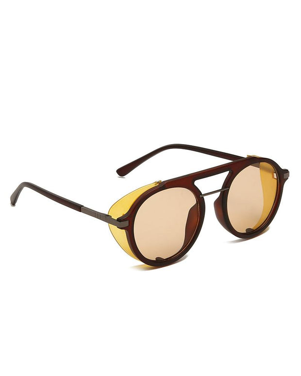 Colorblock Reflector Design Round Frames Sunglasses