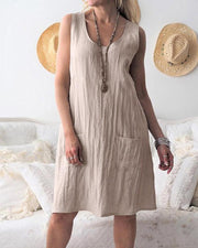 Solid color cotton and linen pocket sleeveless dress