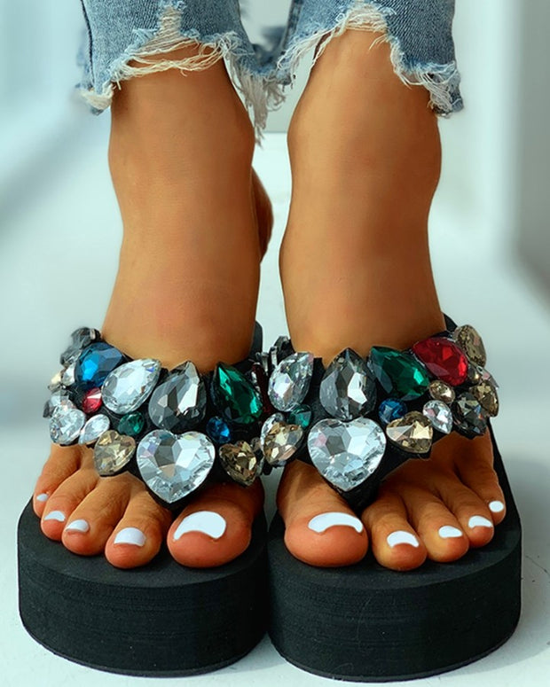 Toe Post Studded Wedge Sandal